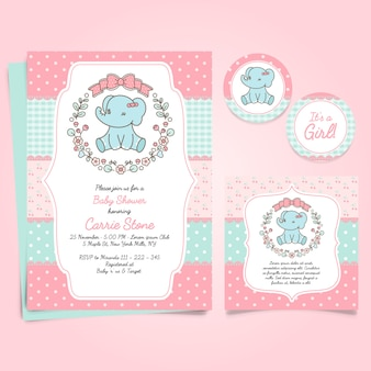 Pink card for baby shower with a cute elephant