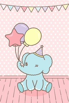 Pink card for baby with a cute elephant