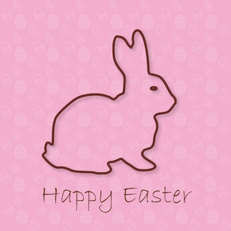 Pink card with an easter rabbit
