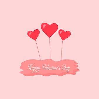 Розовая открытка с сердечками и надписями