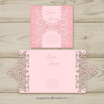 Розовая открытка с лазерной резкой