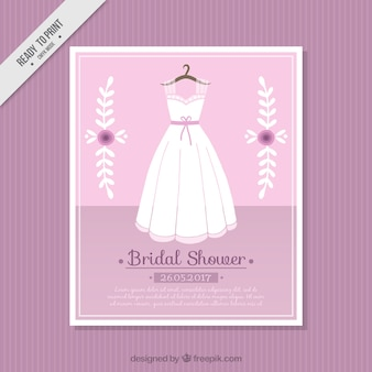 Pink card with wedding dress