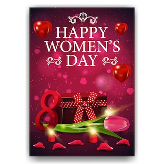 Pink card for women's day with gift and tulip