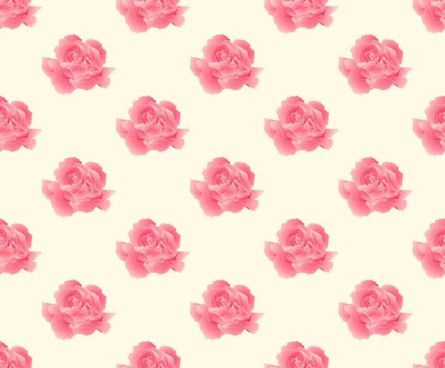 Pink carnation seamless on beige ivory background