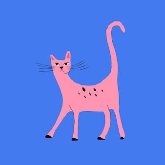 Розовый кот элемент векторные иллюстрации животных