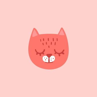 Pink cat head face with closed eyes. cute cartoon