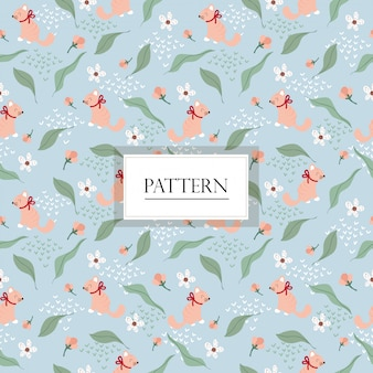 Pink cat and variety flower seamless pattern/background