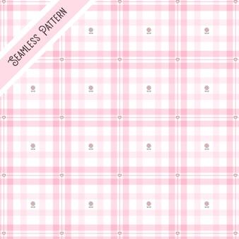 핑크 체크 무늬와 꽃 원활한 패턴