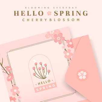 Pink cherry blossom postcard template vector