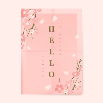 Pink cherry blossom poster template vector