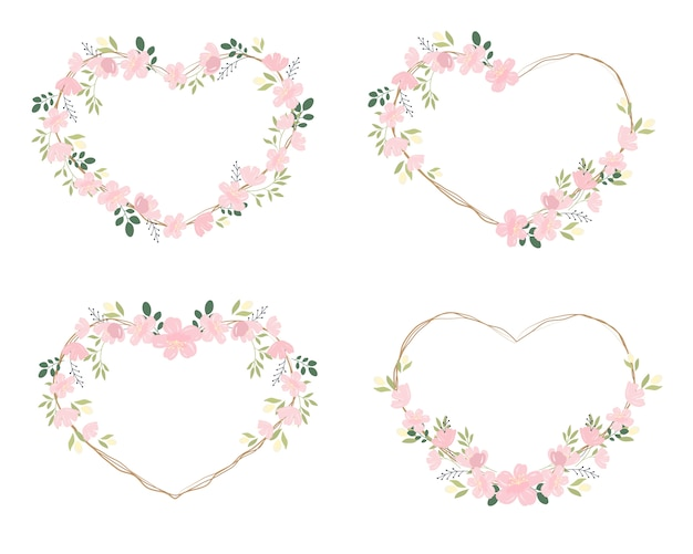 Pink cherry blossom or sakura heart wreath frame