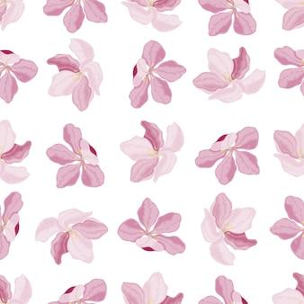 白い背景の上のピンクの桜花テキスタイルと紙のシームレスなパターンベクトル