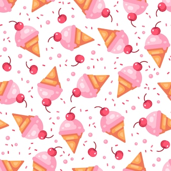 Pink cherry ice cream cone seamless pattern