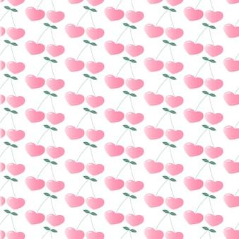 ハートの形をしたピンクチェリー。シームレスな繰り返しパターン。壁紙。布、包装紙に印刷するための図。