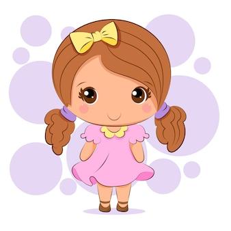 Розовая девушка чиби