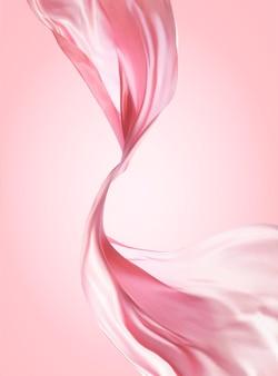 Розовый шифоновый дизайн, летящая ткань на розовом фоне