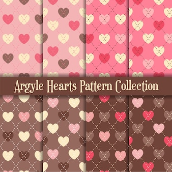Pink and chocolate argyle hearts pattern