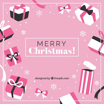 Pink christmas background with gift boxes