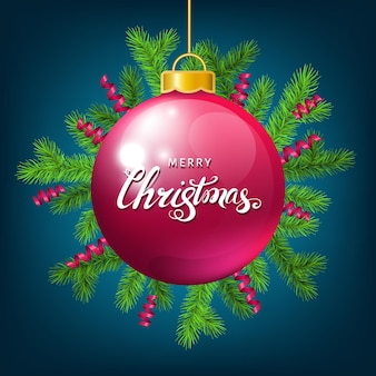 Pink christmas ball  with spruce branch,   serpentine and lettering on blue  background. green fir. vector template  for xmas cards, banners, flyers, new year party posters.