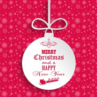 Pink christmas card with bauble