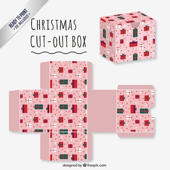 Pink christmas cut out box