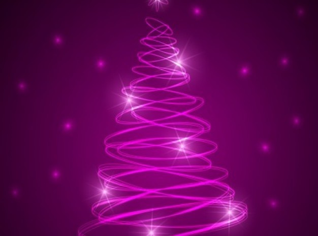 Pink christmas glowing tree with stars