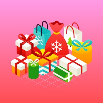 Розовая концепция рождественских подарков. векторная иллюстрация зимнего праздника изометрии поздравительной открытки.