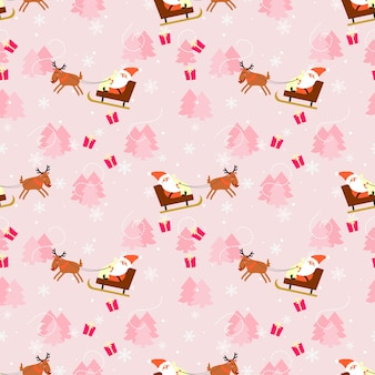 Pink christmas and santa claus seamless pattern.