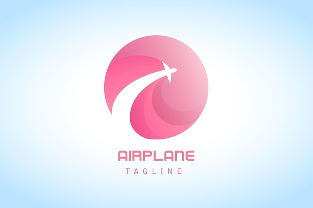 Pink circle airplane gradient logo for company