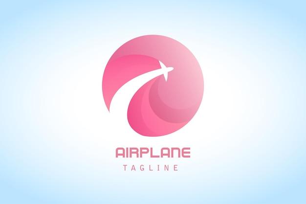 会社のピンクの円の飛行機のグラデーションのロゴ