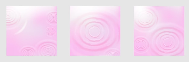 ピンクの円の放射状のリアルな水の波紋の背景コレクションをトップビューアングルまたはフラットレイから