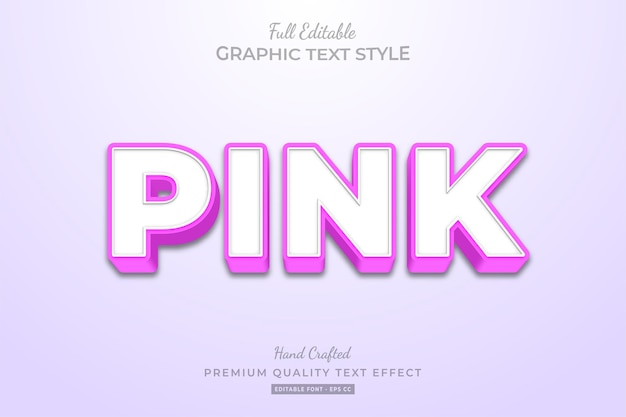 Pink clean editable text effect font style