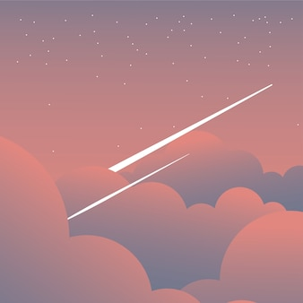 Pink clouds on sky with shooting stars design, landscape nature environment and outdoor theme