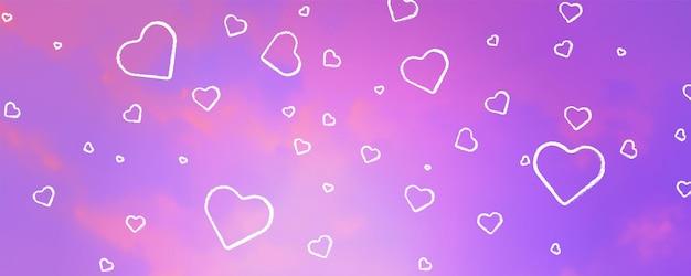 ハートのベクトルの背景とピンクの雲。あなたのデザインのための明るい装飾