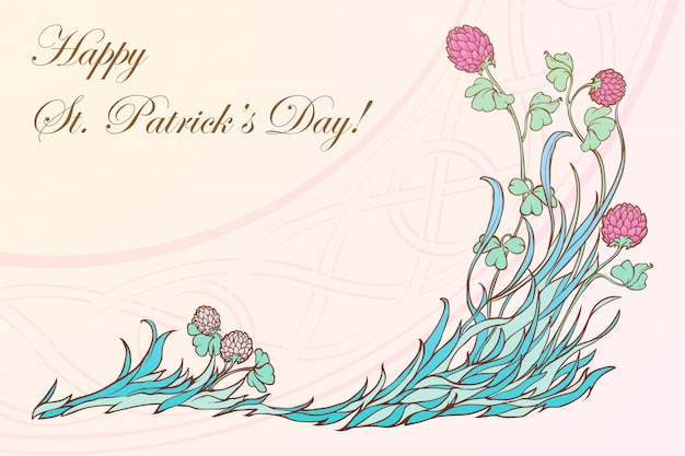 Pink clover in bloom and traditional celtic woven ornament. st. patrick's day festive design.
