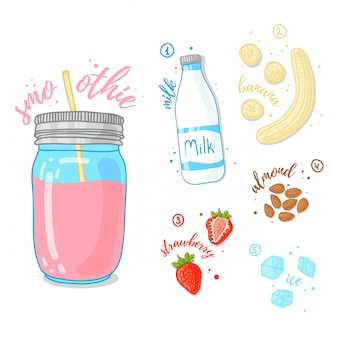 フルーツ、ベリー、ナッツのピンクのカクテル。イチゴ、アーモンド、バナナ入りのミルクスムージー。ガラスの瓶にイチゴのスムージーのレシピ。