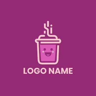 ピンクコーヒーのモダンなロゴデザイン