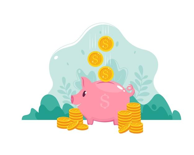 ピンクのコインボックス。落下の金貨と貯金箱。お金を節約または節約する、または銀行預金を開くという概念。フラットスタイルのイラスト。