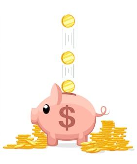Розовая копилка. копилка с падающими золотыми монетами. концепция сбережения или накопления денег или открытия банковского вклада. иллюстрация на белом фоне. страница веб-сайта и мобильное приложение