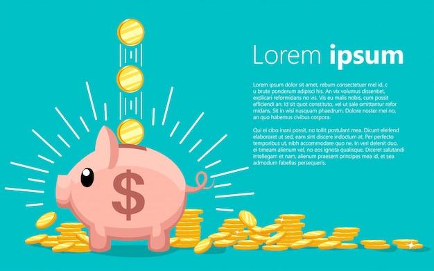 핑크 동전 상자. 떨어지는 금화와 저금통입니다. 돈을 저축하거나 저축하거나 은행 예금을 여는 개념. 청록색 배경에 텍스트에 대 한 장소 그림