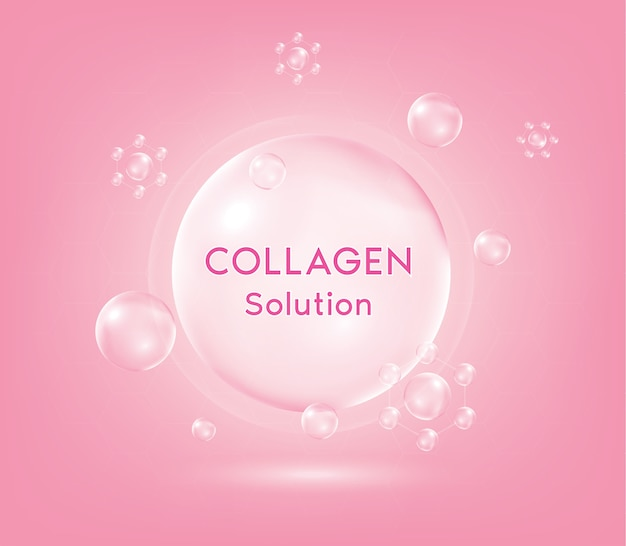Pink collagen serum drop with cosmetic. skin firming nutrition drop. young sensitive irritated skin cleansing moisturizer.