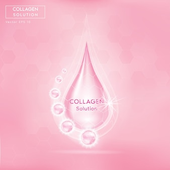 Pink collagen serum drop with cosmetic. skin firming nutrition drop.