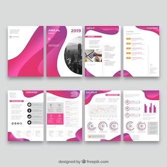 연례 보고서 표지 템플릿의 핑크 컬렉션