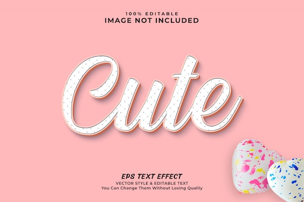 Pink color cute clean minimal editable text effect style - premium
