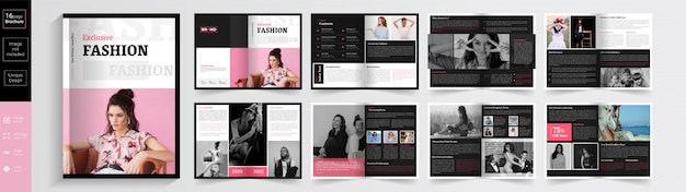 Pink color exclusive fashion brochure  template.