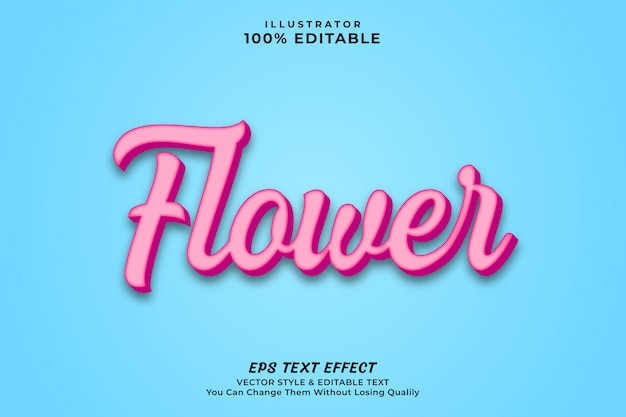 Pink color flower text effect style premium vecto