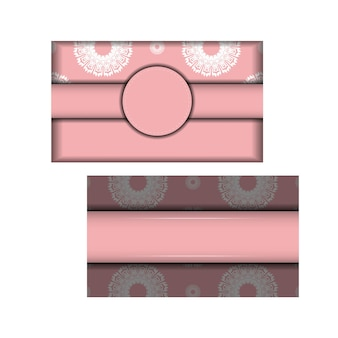 おめでとうございます。ギリシャの白い模様のピンク色のチラシ。