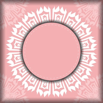 Pink color flyer with greek white pattern for your brand.