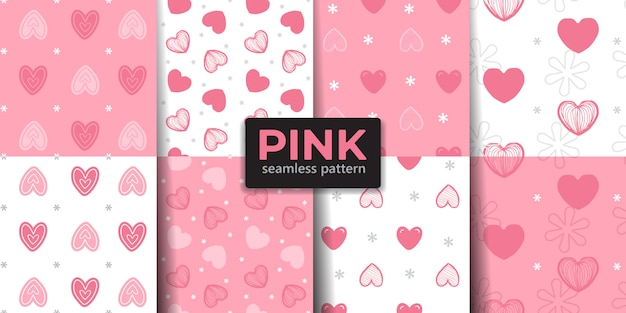 Pink color heart seamless pattern collection.