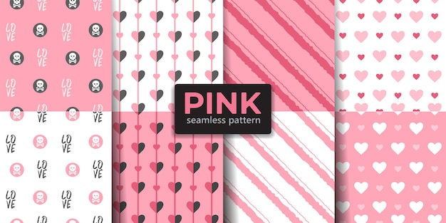 Pink color love seamless pattern collection.